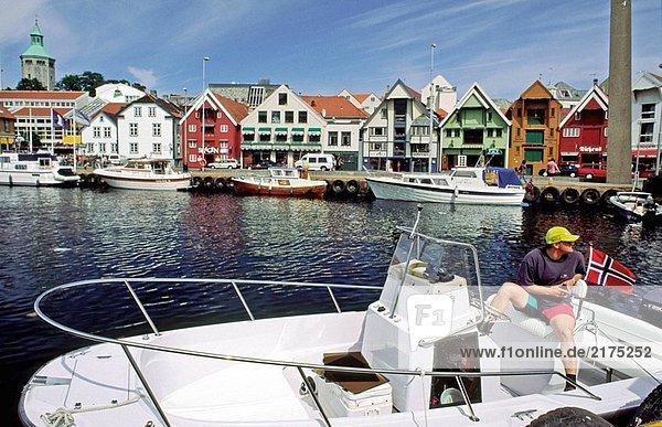 Stadt Hintergrund Norwegen bauen Blockhaus Jahrhundert Ende alt Stavanger Holzhaus