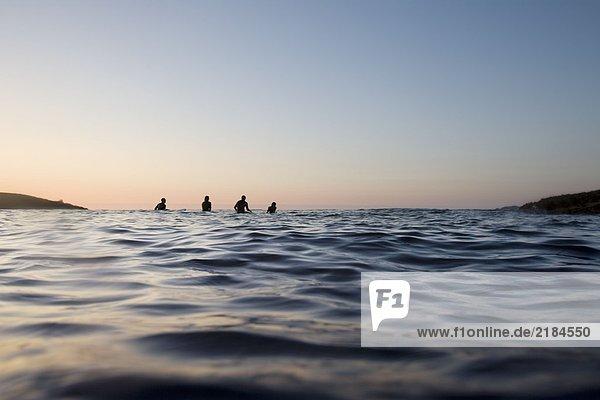 Vier Leute sitzen auf Surfbrettern im Wasser.