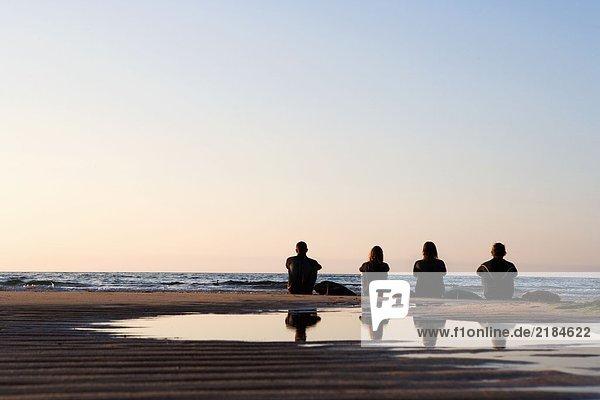 Vier Leute sitzen am Strand mit Surfbrettern.