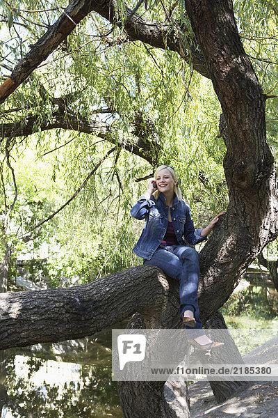 Frau sitzt auf einem Baum auf dem Handy und lächelt.