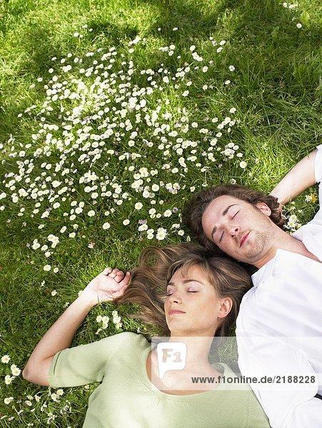 Ein Paar schläft im Gras.