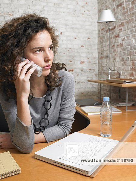 Businesswoman talking on the phone.  Brussels  Belgium.