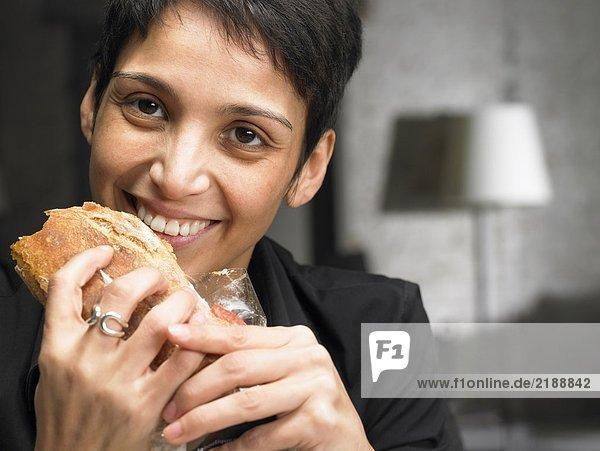 Businesswoman having a snack. Brussels  Belgium.