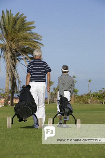 Rückansicht des reifes Paar ziehen Golftaschen über Golfplatz