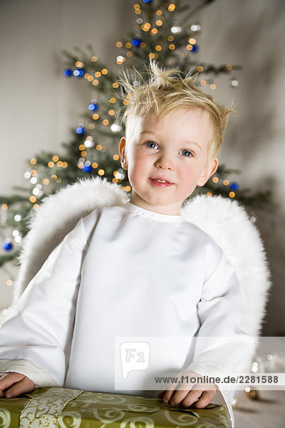 Toddler Boy wearing Angel suit