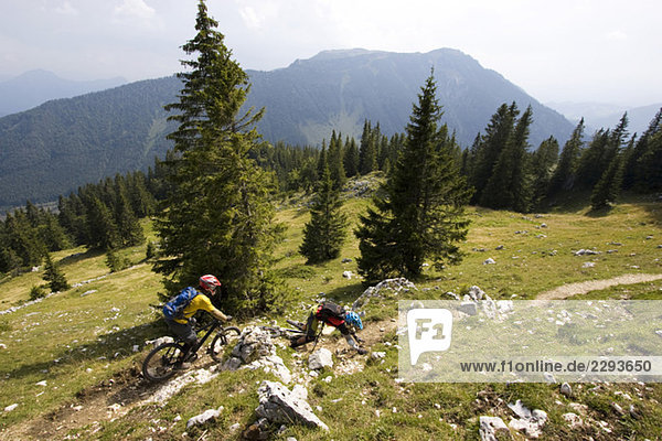 Germany  Bavaria  Kampenwand  mountainbiking