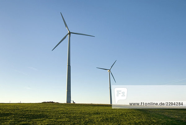 Germany  Rhoen  Wind wheels in field