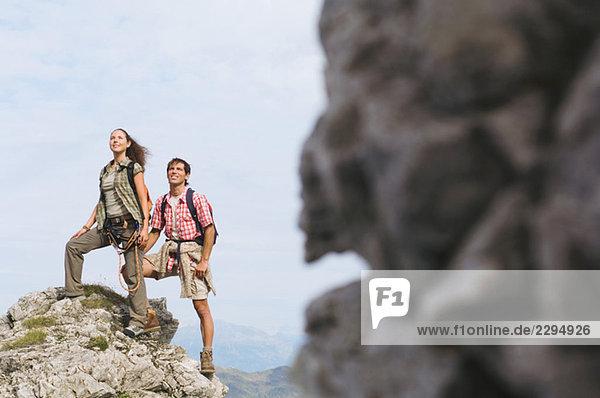 Austria  Salzburger Land  couple on mountain top