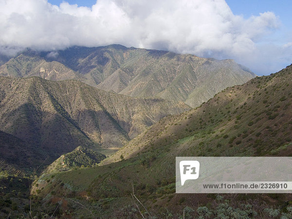Clouds over mountain range  La Gomera  Canary Islands  Spain