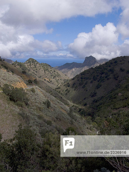 Panoramic view of valley  La Gomera  Canary Islands  Spain