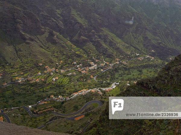 Gebäude Tal Ansicht Kanaren Kanarische Inseln Luftbild Fernsehantenne La Gomera Spanien