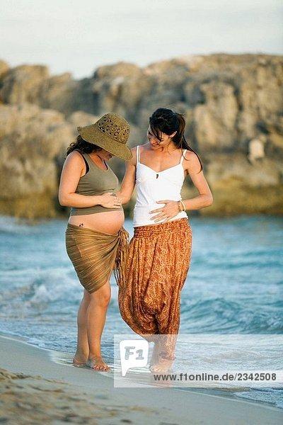 Zwei Freundinnen  eine Frau schwanger ist  entlang dem Strand