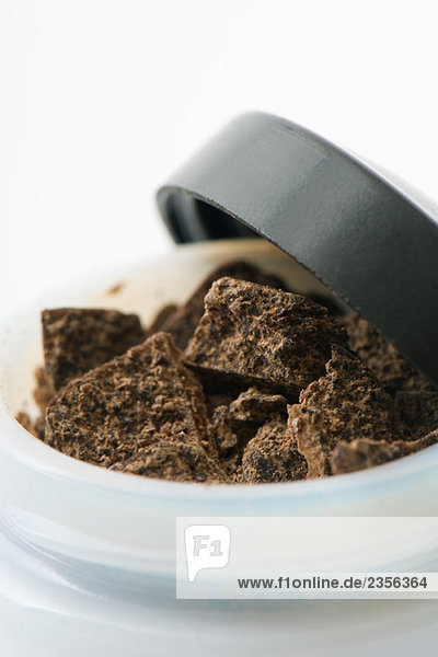 Chocolate shavings in small container