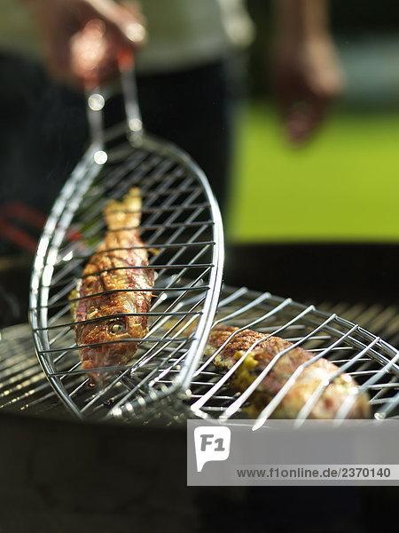 Nahaufnahme Fisch auf Barbecue-grill