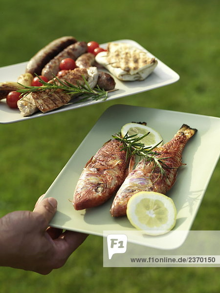 Nahaufnahme der person's Hand hält gegrillten Speisen auf Platten