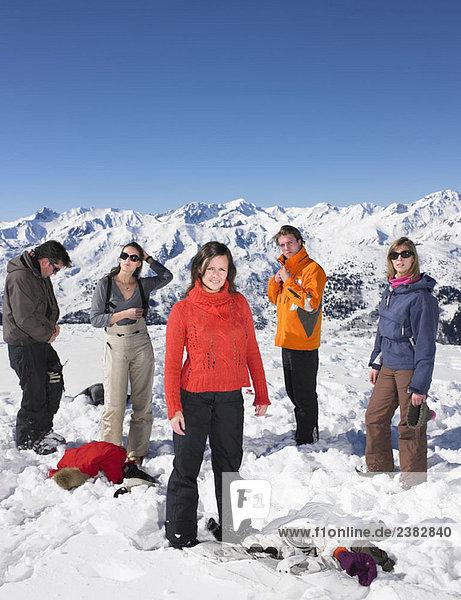 Gruppenwechsel im Schnee