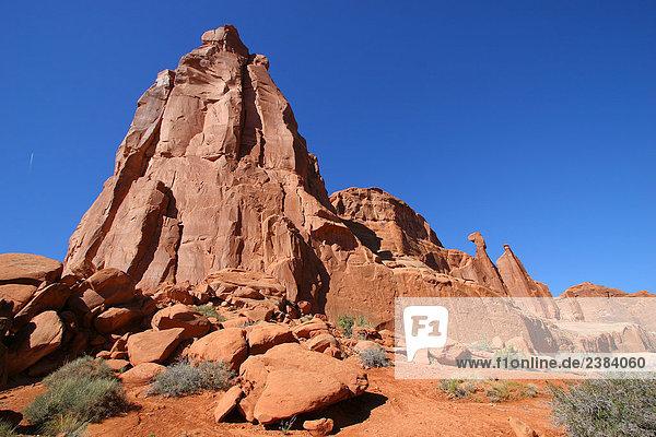 Felsformationen auf Landschaft  Arches Nationalpark  Utah  USA