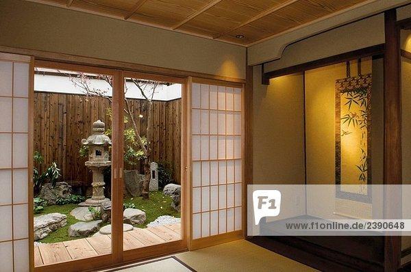 Boden Fussboden Garten Japan Matte Rutschen Sehen Tatami Tur