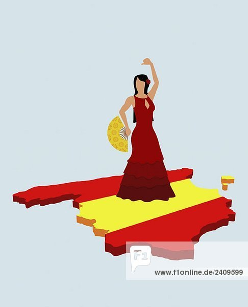 stereotype spanierin stehend auf spanische flagge in form von spanien lizenzfreies bild. Black Bedroom Furniture Sets. Home Design Ideas