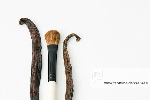 Vanilleschoten und Make-up Pinsel  Nahaufnahme Vanilleschoten und Make-up Pinsel, Nahaufnahme