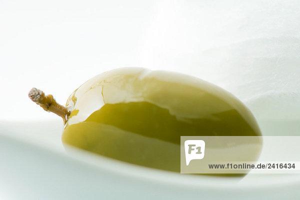 Grüne Olive  Nahaufnahme Grüne Olive, Nahaufnahme