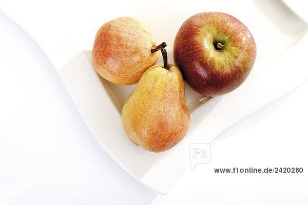 Äpfel und Birne auf Teller  erhöhte Ansicht
