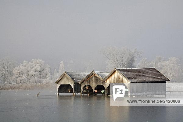 Germany,  Bavaria,  Murnau,  Lake in winter