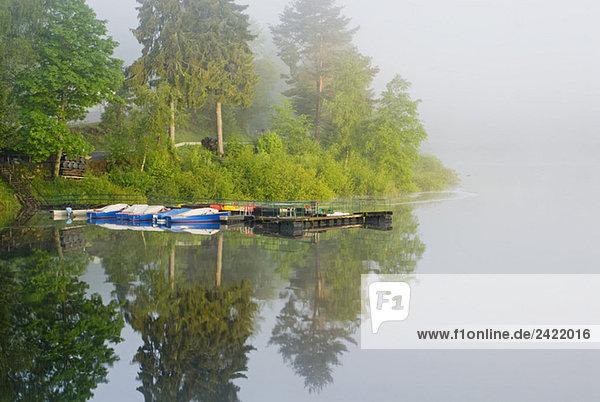 Germany  Schwarzenbach  storage lake with fog Germany, Schwarzenbach, storage lake with fog