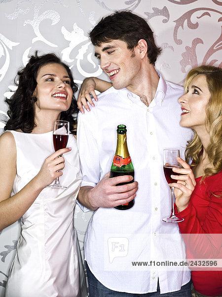 Freunde trinken Wein Party