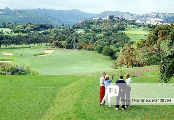 People playing golf  Bandama Golf Club  Gran Canaria island  Canary Islands  Spain