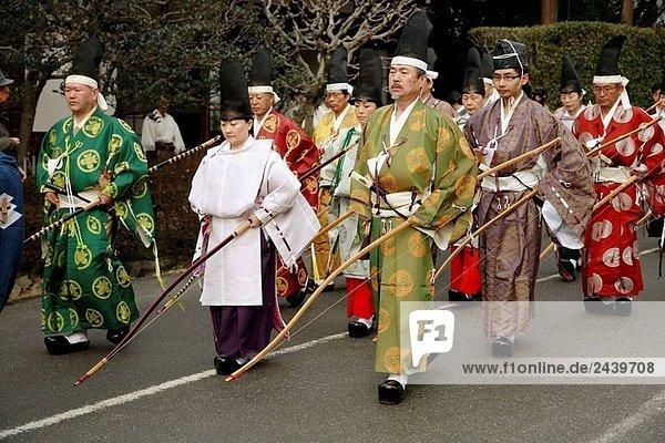 Japan  Kansai  Kyoto  Musha Shinji Bogenschießen Zeremonie