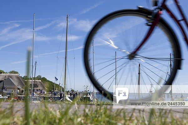 Reifen hinten von Fahrrad an verfügt über Ankern im Hafen