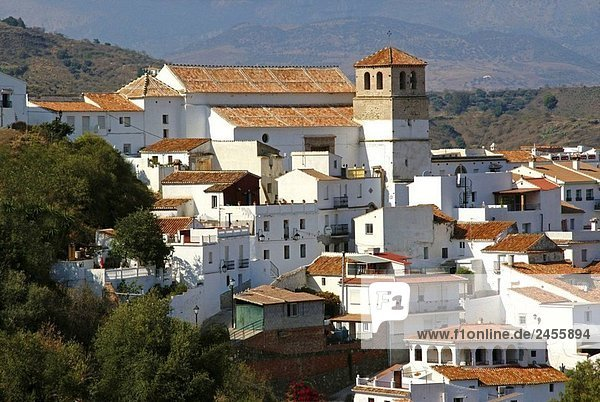 Spain_Malaga_Andalusia_ village of Cutar  with a mudejar style church  in the Axarquia mountains.