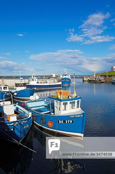 Boote im Hafen. Seahouses Northumberland. England