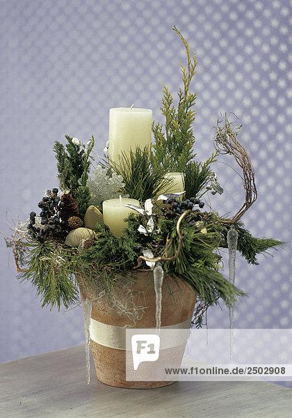 Advent adventsgesteck ast baum beh lter beleuchtung for Blumentopf dekoration