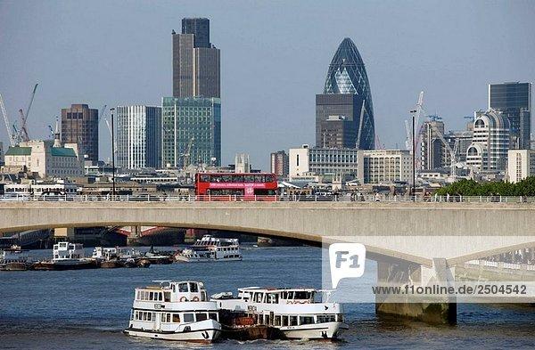 Waterloo Bridge City of London Skyline London England UK
