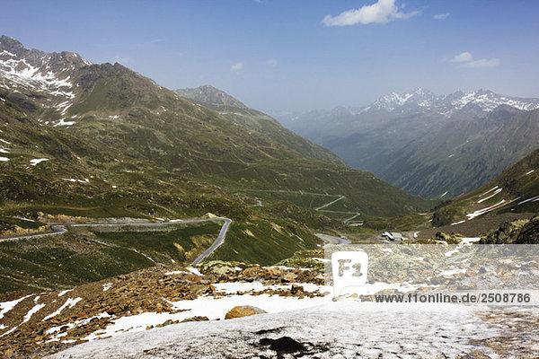 Austria  Tyrol  Kaunertal  Road leading through mountain scenery