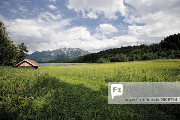 Germany  Bavaria  Geroldsee  in background Wetterstein mountains