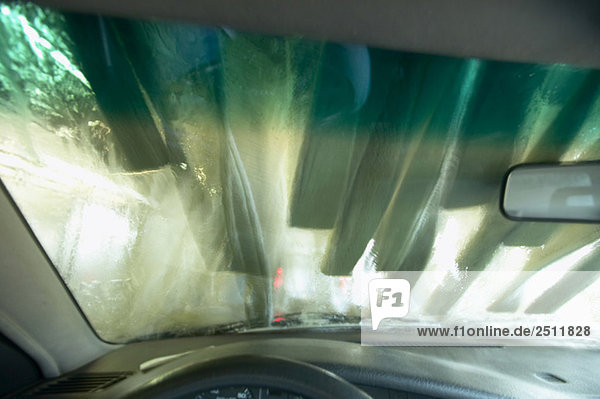 Car wash site  seen through windscreen