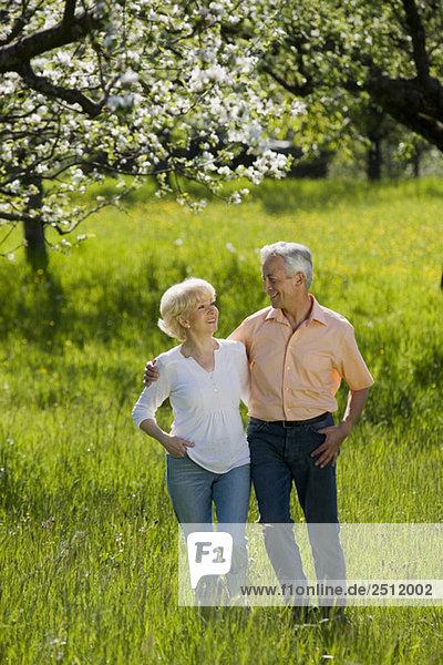 Deutschland  Baden Württemberg  Tübingen  Seniorenpaar zu Fuß über Feld
