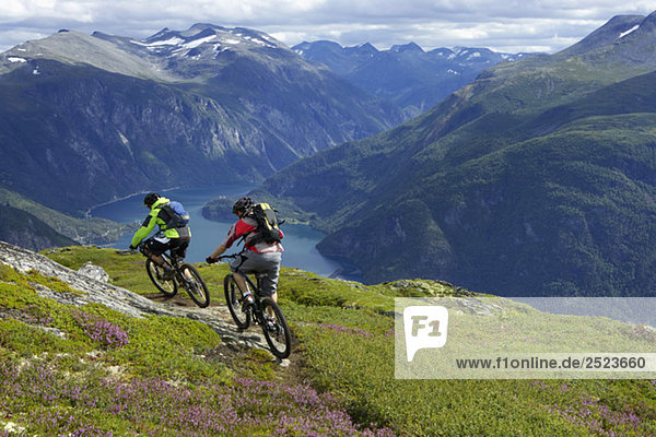 Two Mountainbike riders in the mountains