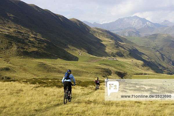 Drei Fahrradfahrer fahren eine Alm hinunter  fully_released