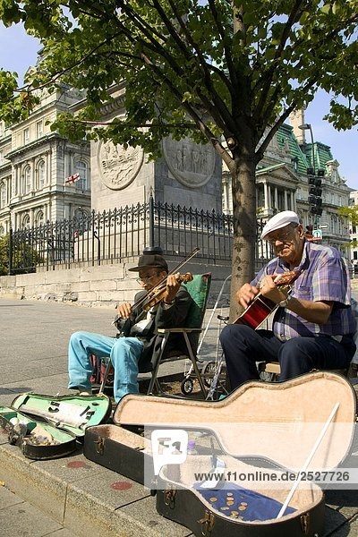 Street Musicians in Place Jacques-Cartier  Old Montreal  Quebec.