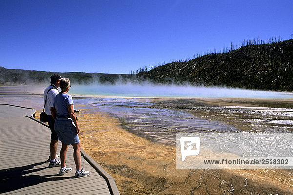 'Tourists at Grand Prismatic Spring  Yellowstone National Park