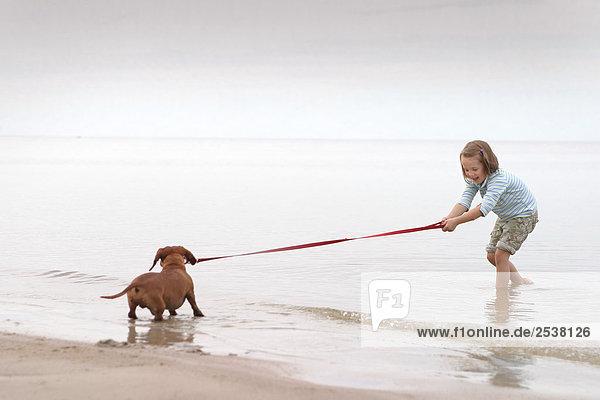 Mädchen am Strand spielen mit Hund  Lake Winnipeg  Manitoba  Kanada