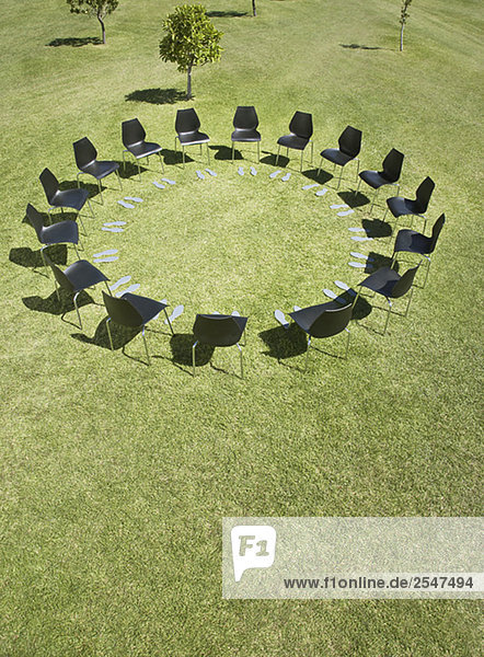 Stuhl Feld Kreis Büro Fußabdruck