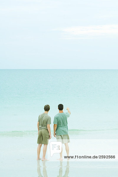 Two men standing on beach looking at the horizon