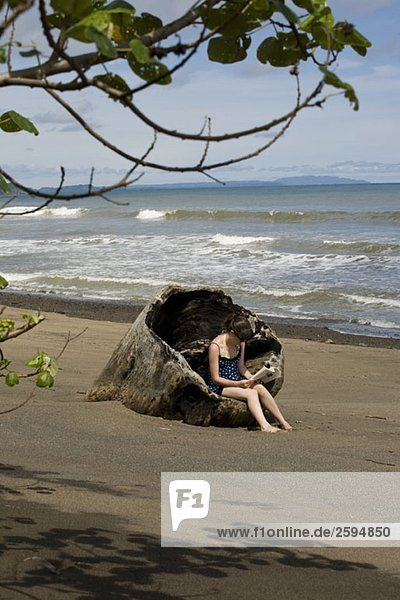 A teenage girl sitting in a large piece of driftwood