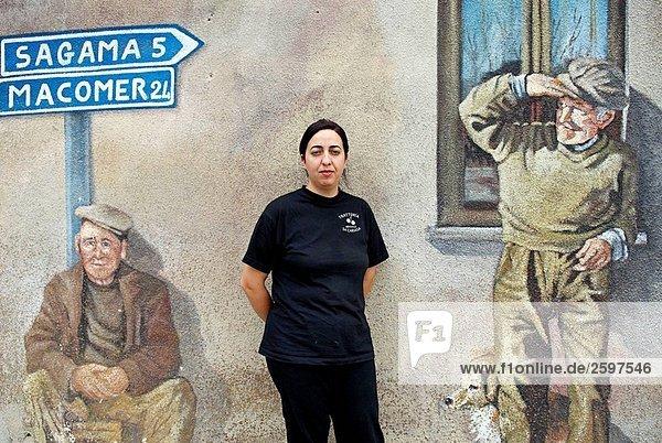 Wandmalerei in das Dorf Tinnura. Sardinien  Italien