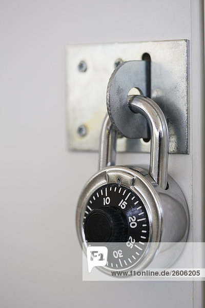 Combination lock on school locker, close-up RLX-103052